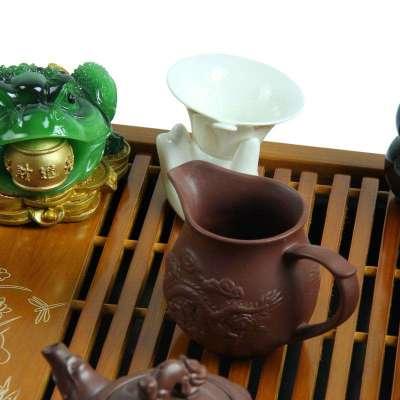 实木茶盘电磁炉四合一套装陶瓷功夫茶具一整套套装