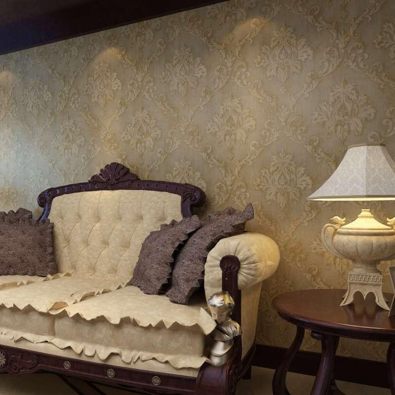 q家装复古墙纸欧式大马士革壁纸卧室客厅电视背景墙