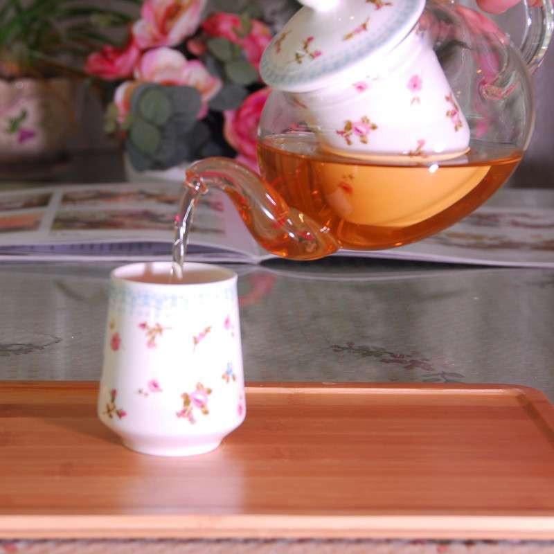内胆加陶瓷加热底座1壶6杯带木茶盘六人组茶具套装