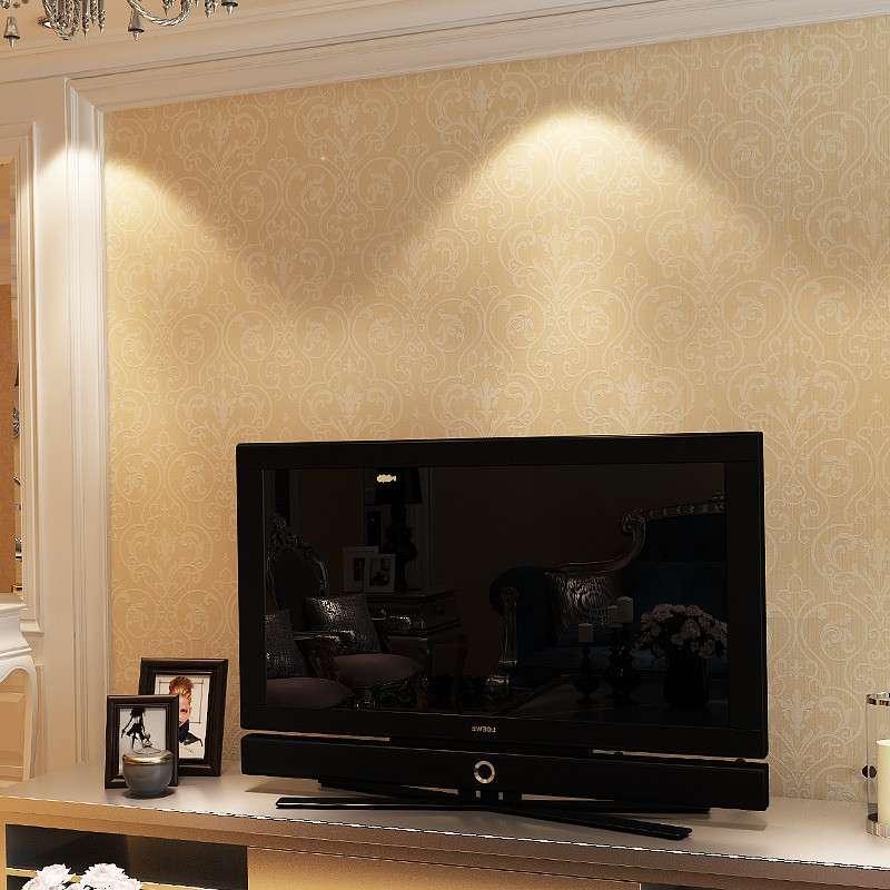 浮雕印花客厅墙纸 简约现代无纺布墙纸电视背景墙