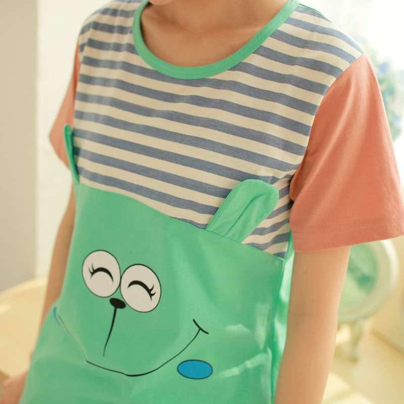 全城热恋2014夏季韩版新款短袖可爱卡通情侣睡衣男女士家居服套装 浅