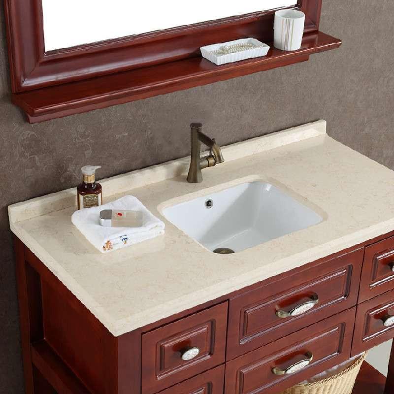 橡木美式浴室柜 大理石台面