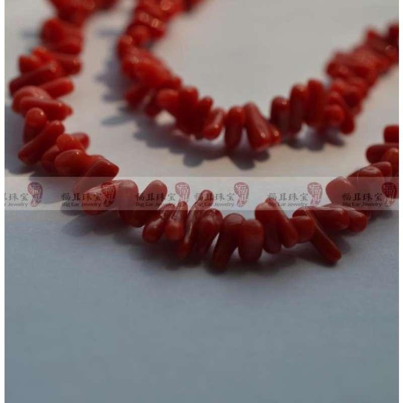 天然沙丁红珊瑚原枝活枝形编织项链 纯手工 意大利风格vintage