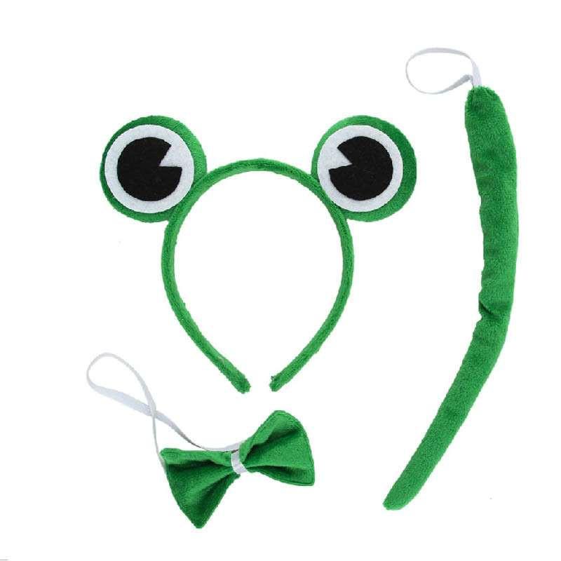 动物头饰发卡 舞会装饰头箍 青蛙头饰 青蛙头箍领结尾巴三件套
