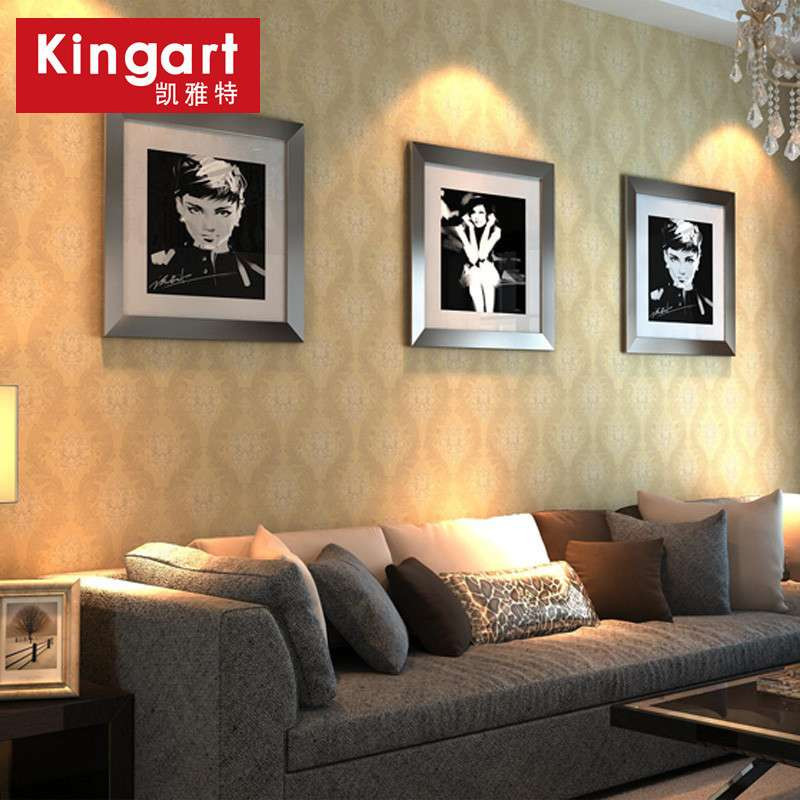 壁纸大马士革欧式无纺布墙纸卧室客厅餐厅电视背景墙