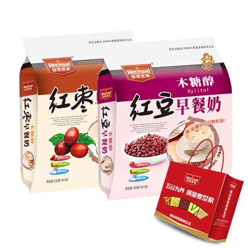 皇麦世家 木糖醇红豆早餐奶538g 木糖醇红枣早餐奶538