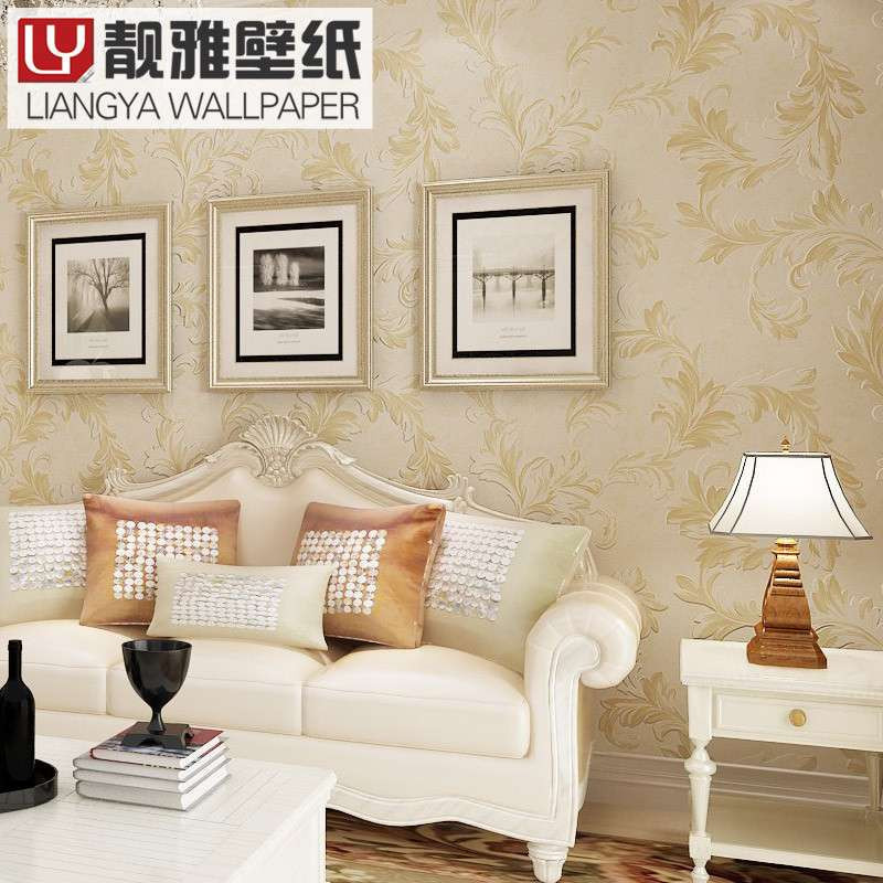 靓雅壁纸 欧式云3d立体电视背景墙卷草纹无纺布客厅卧室植绒墙纸
