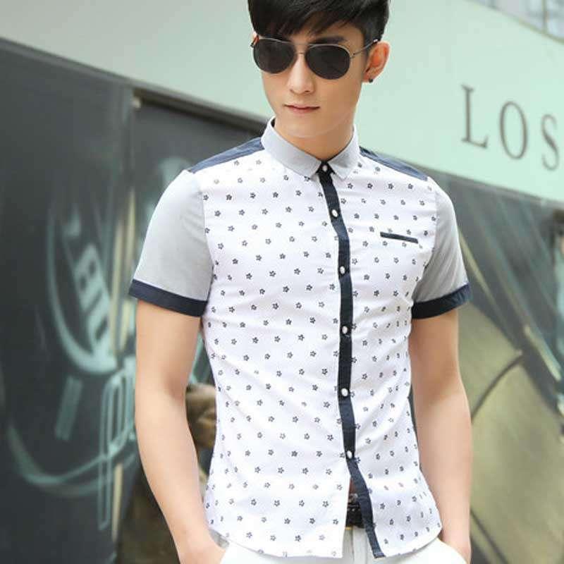 夏季新款韩版修身花纹男休闲衬衫2014短袖