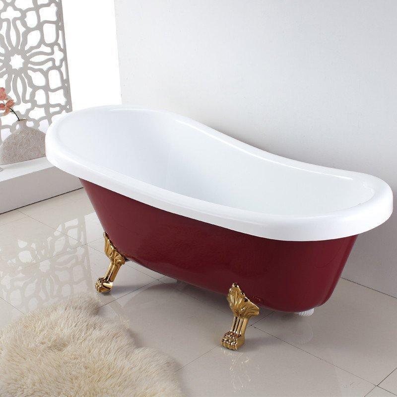 贵妃浴缸 独立式亚克力浴缸彩色欧式情侣