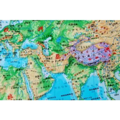世界地形图 四开2014最新 地理教学立体凹凸地