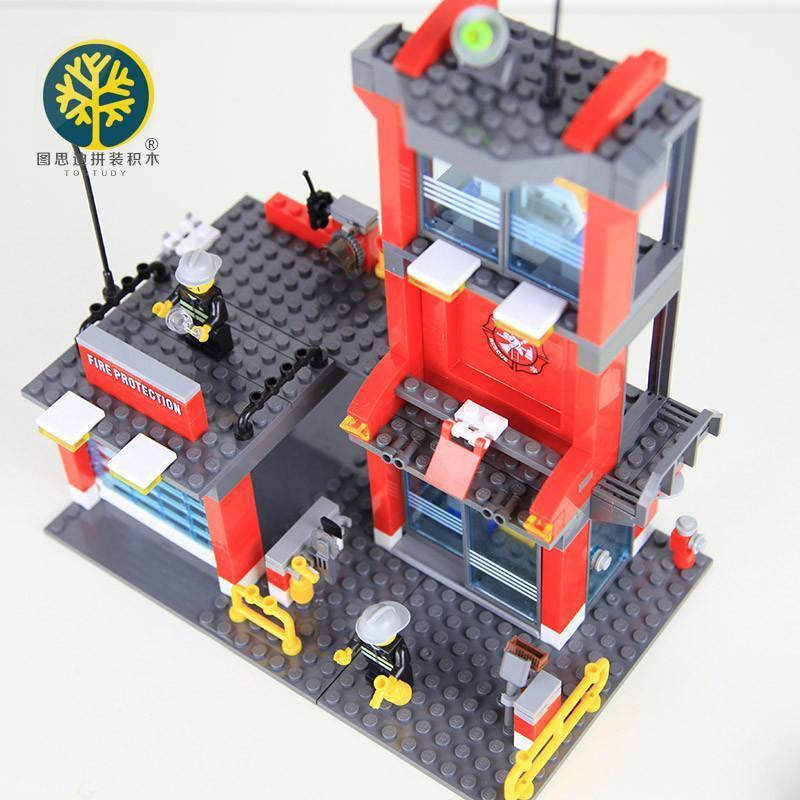 图思迪城市消防局兼容乐高拼装积木拼插益智启蒙儿童玩具男孩礼物