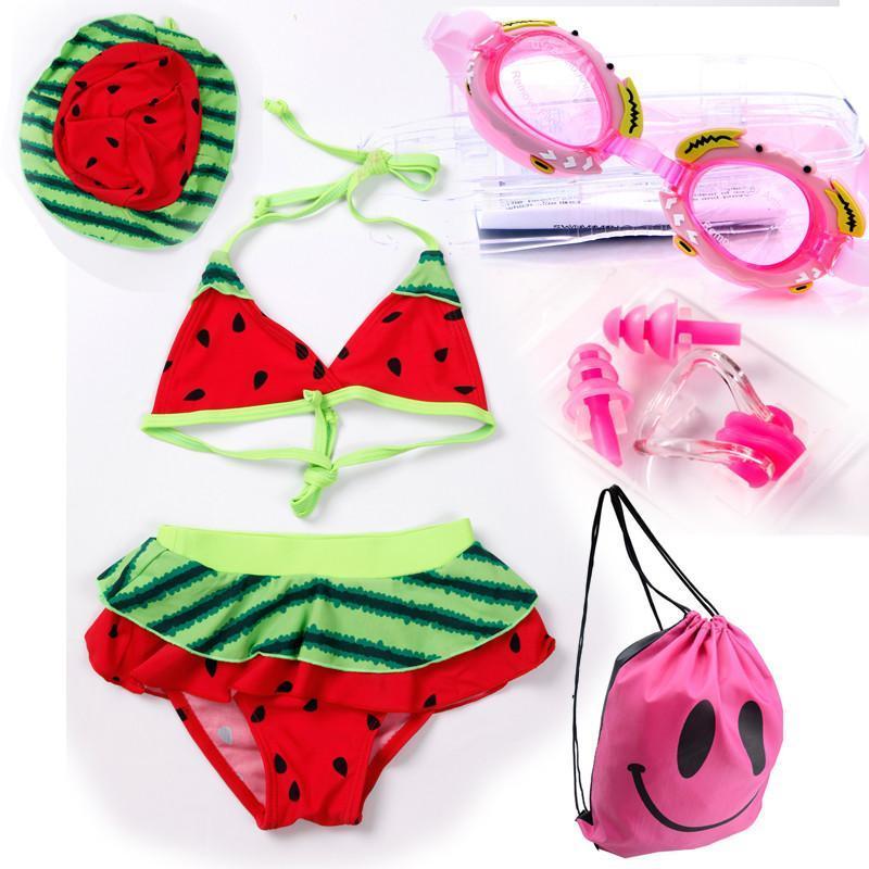 宜肤儿童游泳衣男女中小童可爱宝宝孩子韩国泳衣泳裤泳帽泳镜套装