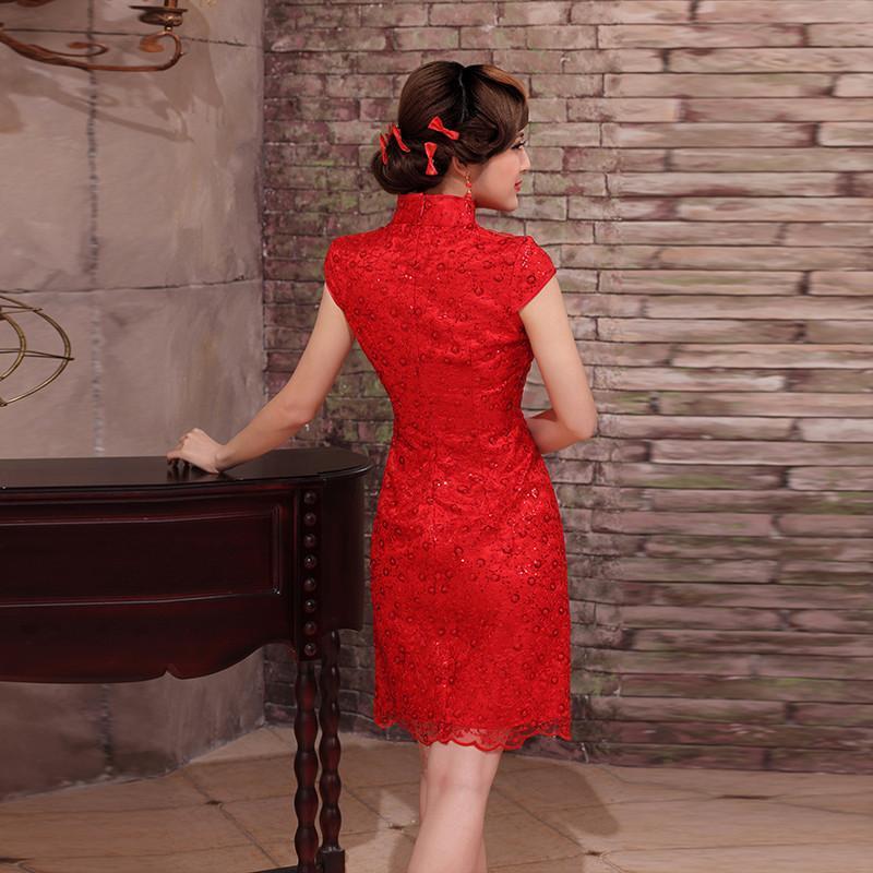 旗袍2014夏装高档旗袍时尚改良蕾丝中袖旗袍裙中式新娘敬酒旗袍 红色