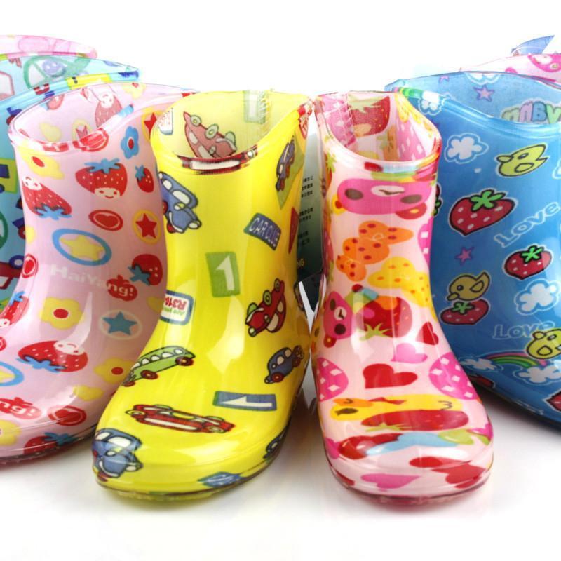 海洋鹿儿童雨鞋宝宝雨靴男童女童防滑水鞋可爱童鞋公主中筒套鞋 蓝色