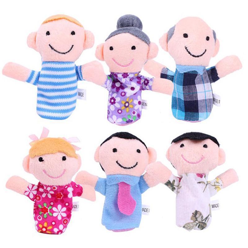 乐婴坊 一家人手指偶娃娃 毛绒布艺手指玩偶 婴儿玩具