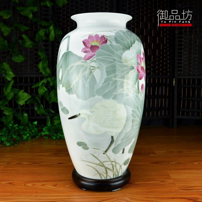醴陵釉下五彩瓷手绘陶瓷花瓶芙荷塘清趣50cm富贵瓶品