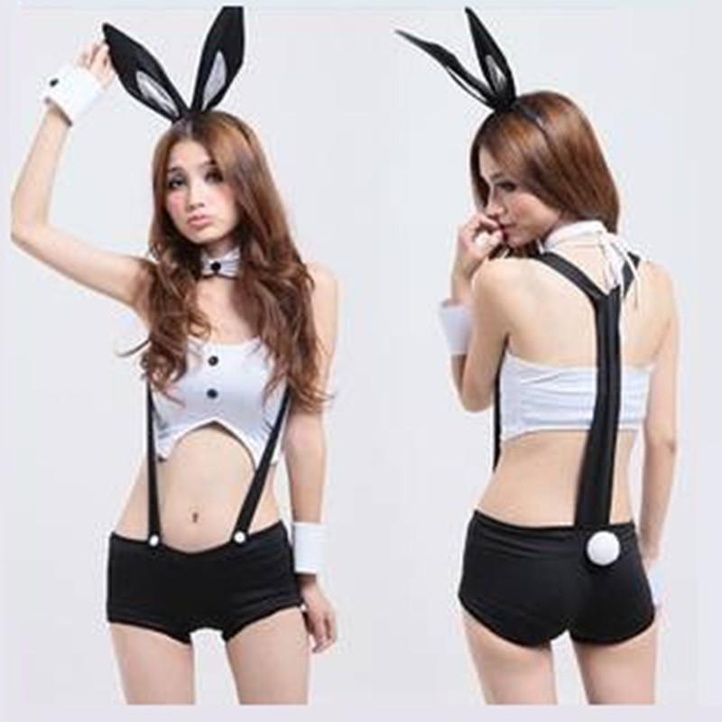 欧美性感情趣内衣兔女郎猫女背带裤夜店派对比基尼连体衣制服诱惑套装