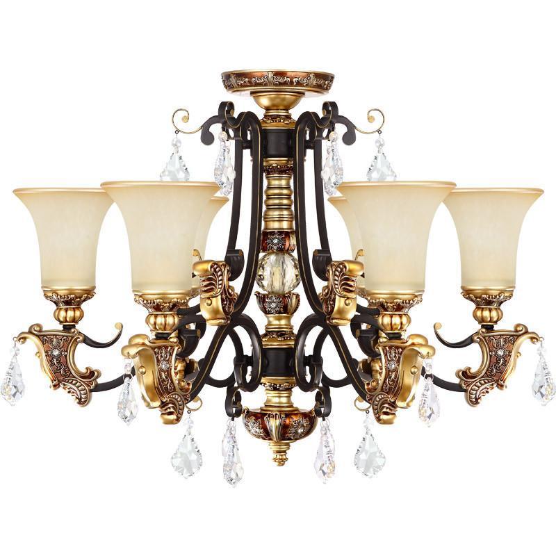 卧室欧式水晶吊灯客厅铁艺吊灯美式乡村卧室灯客厅灯餐厅灯饰灯具8002