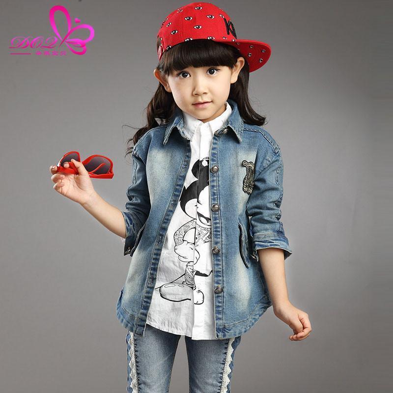 童装秋装女童牛仔外套 儿童百搭牛仔衣开衫 4-8-12岁中大童外出服