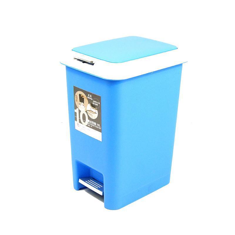 小号10l蓝色脚踏式缓冲型双盖垃圾桶家用杂