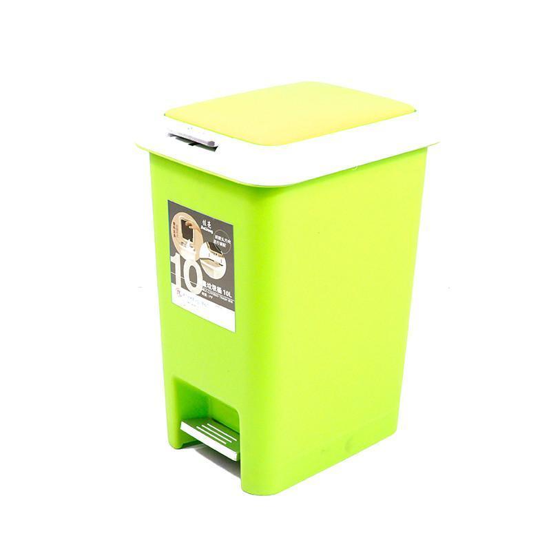 大号20l绿色脚踏式缓冲型双盖垃圾桶家用杂物