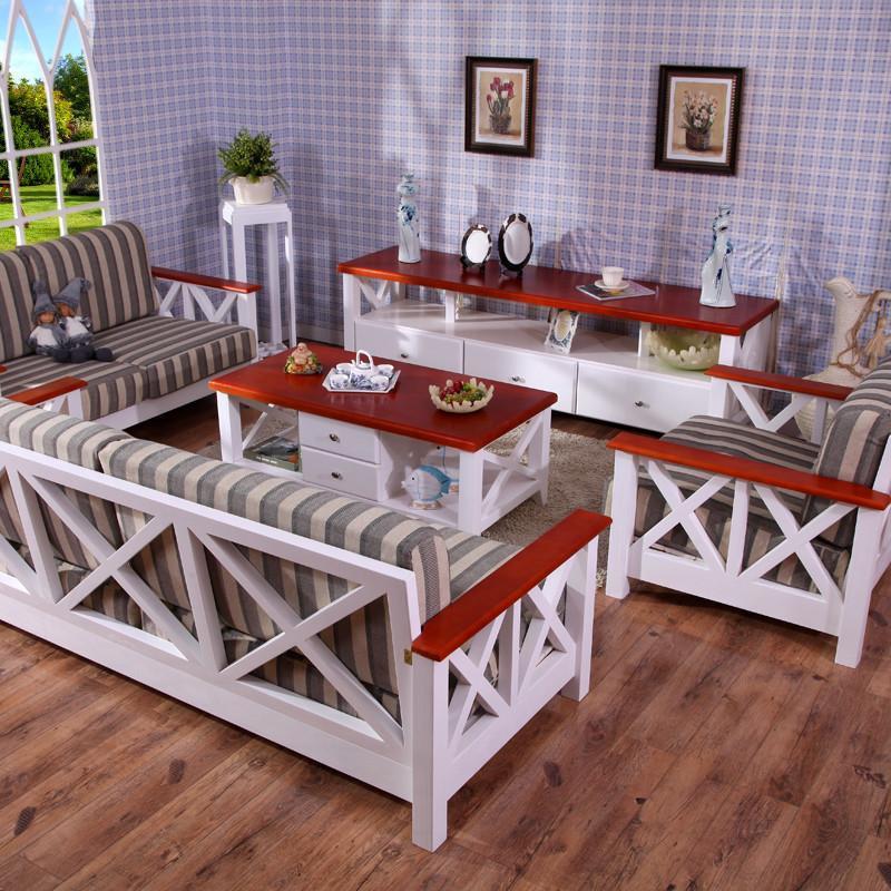 青岛一木家具 实木沙发 松木沙发床转角组合大小户型客厅田园家具布艺