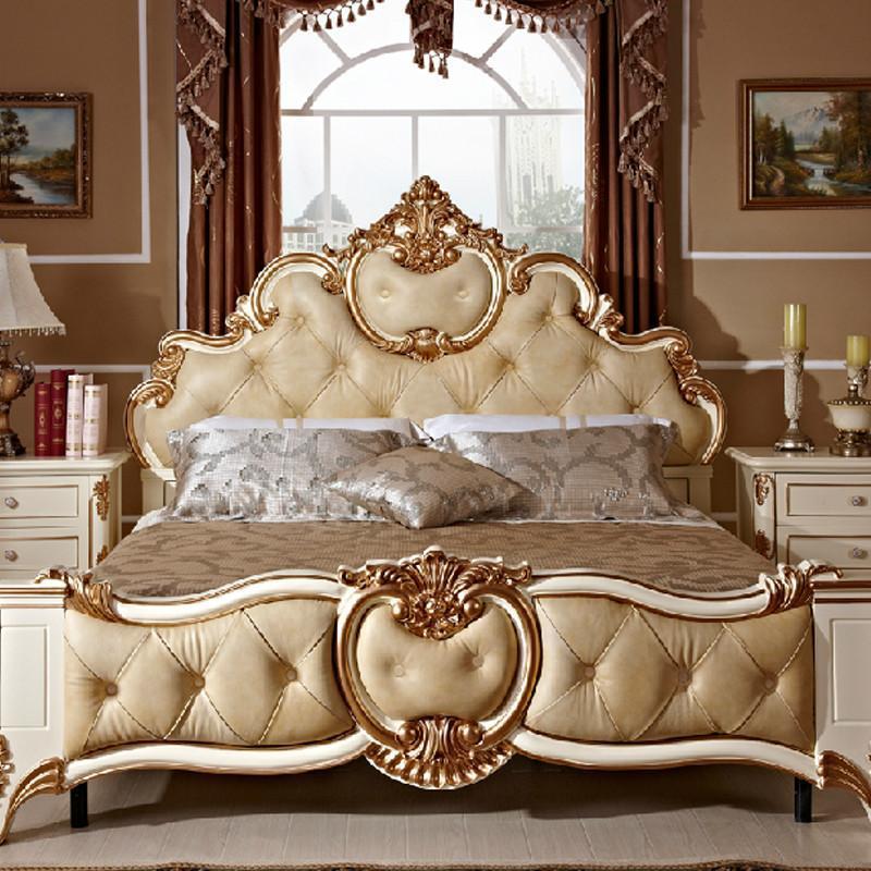 家居/家装建材/厨具 家具 卧室家具 法丽莎家具g8欧式皮床法式雕花 简