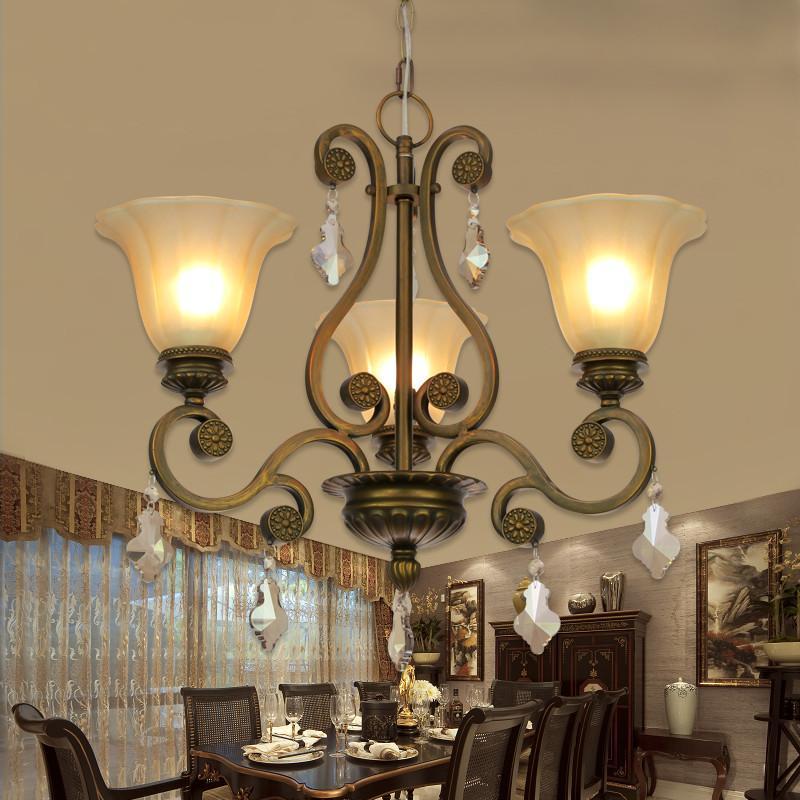 王大哥照明欧式水晶吊灯田园美式灯复古铁艺灯具客厅
