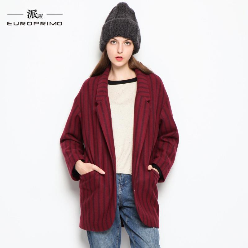 羊毛呢大衣外套女 暗红色