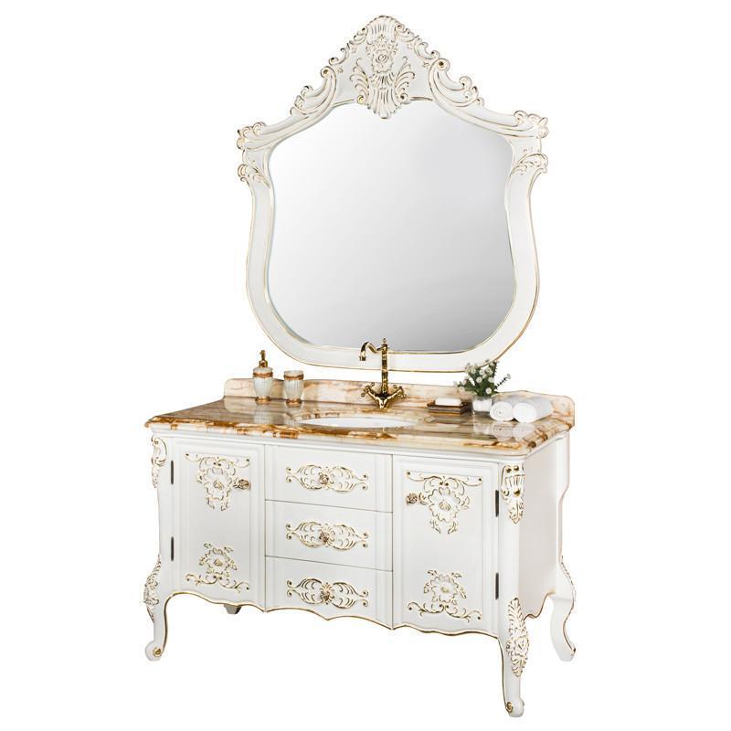 吉美橡木浴室柜组合 欧式描金实木卫浴柜
