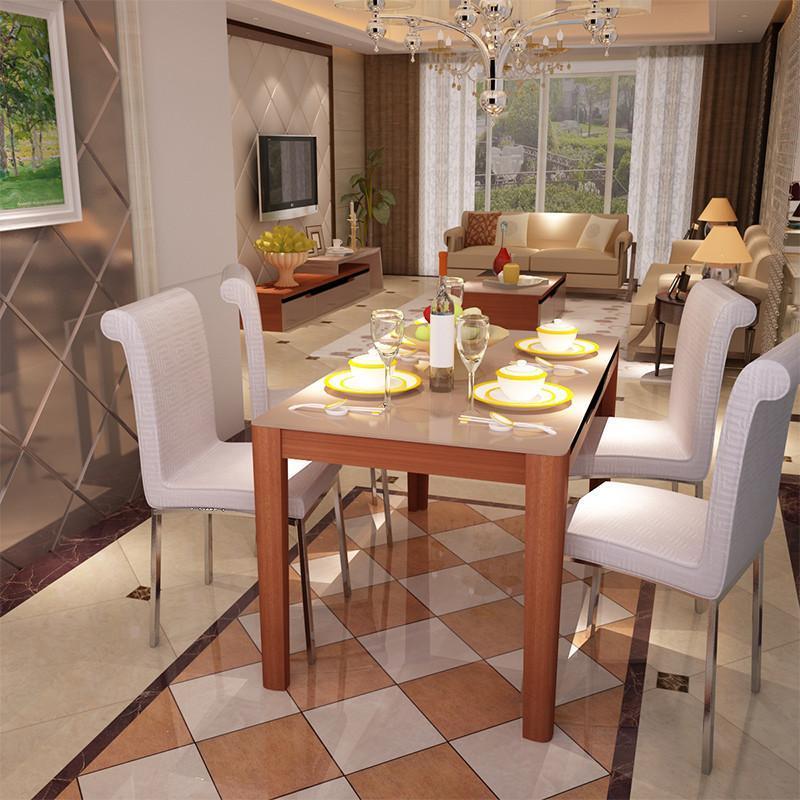 胡桃木茶几+配套电视柜+钢化玻璃餐桌+4椅子
