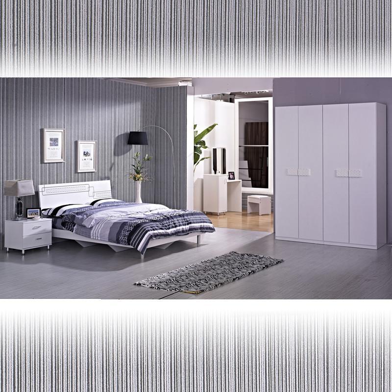 现代时尚卧室套装组合双人床+床头柜+梳妆台+衣柜三