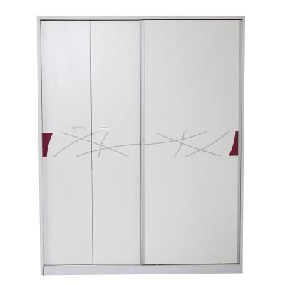 现代时尚烤漆卧室移门推拉门大衣柜简易收纳木质衣橱家居 白色 图片色