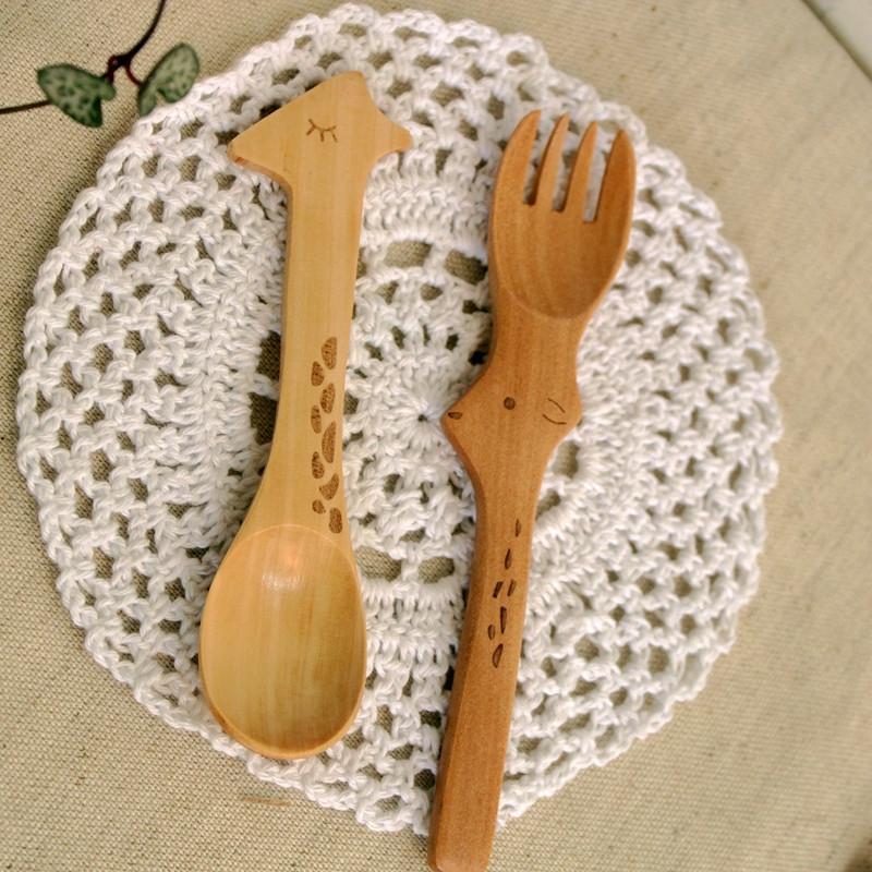手工雕刻木质动物勺子可选