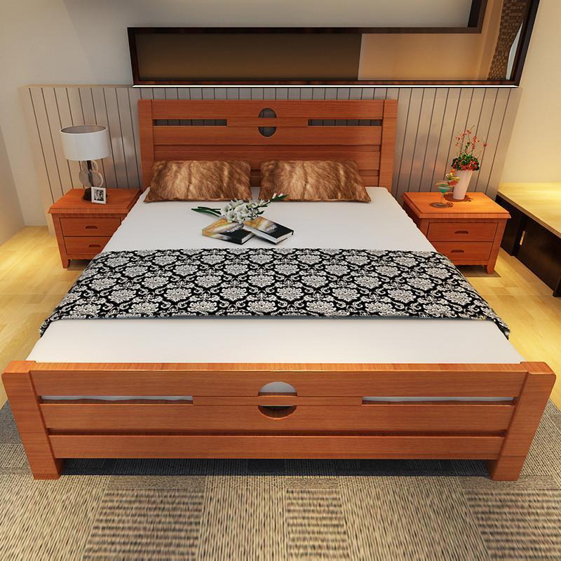 中式高档实木床橡木床1