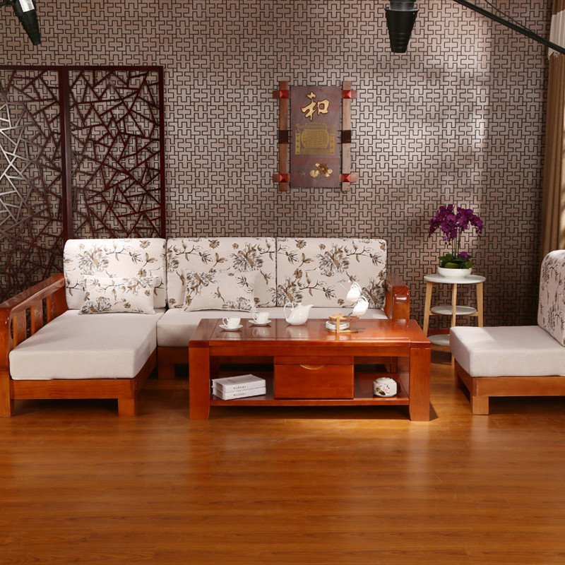 初林现代中式实木组合沙发时尚客厅s16布艺实木沙发