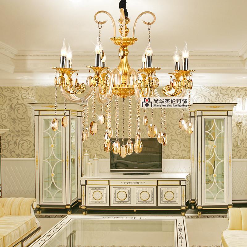 尚华英伦 欧式吊灯客厅灯具灯饰 现代卧室水晶吊灯 简约金色餐厅水晶