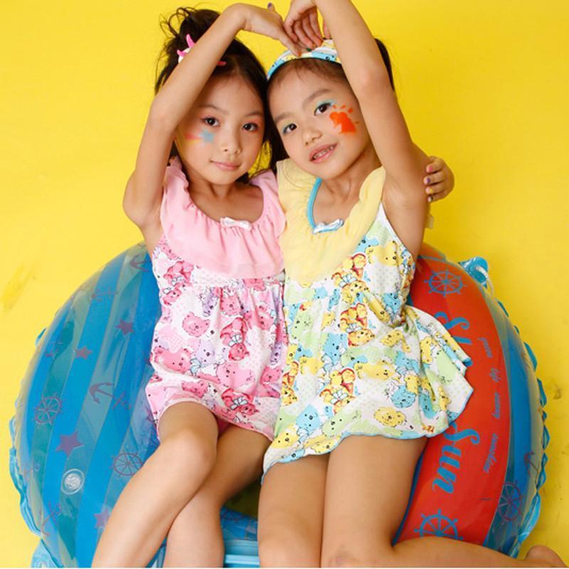夏艳新品儿童泳衣 可爱女童连体裙式游泳衣 1401 粉红色 16