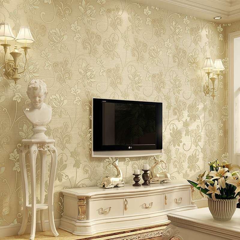 旗航 欧式环保无纺布奢华墙纸 客厅卧室电视背景壁纸3d立体浮雕