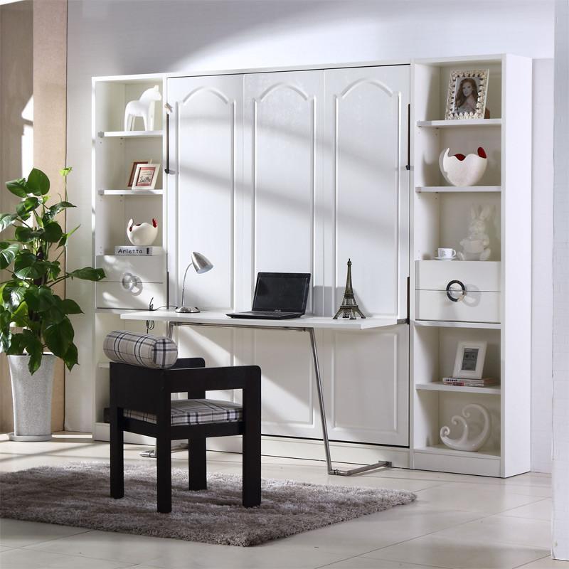 壁柜床 隐藏壁床小户型书桌床书柜一体 现代简约宜家折叠翻斗客厅卧室