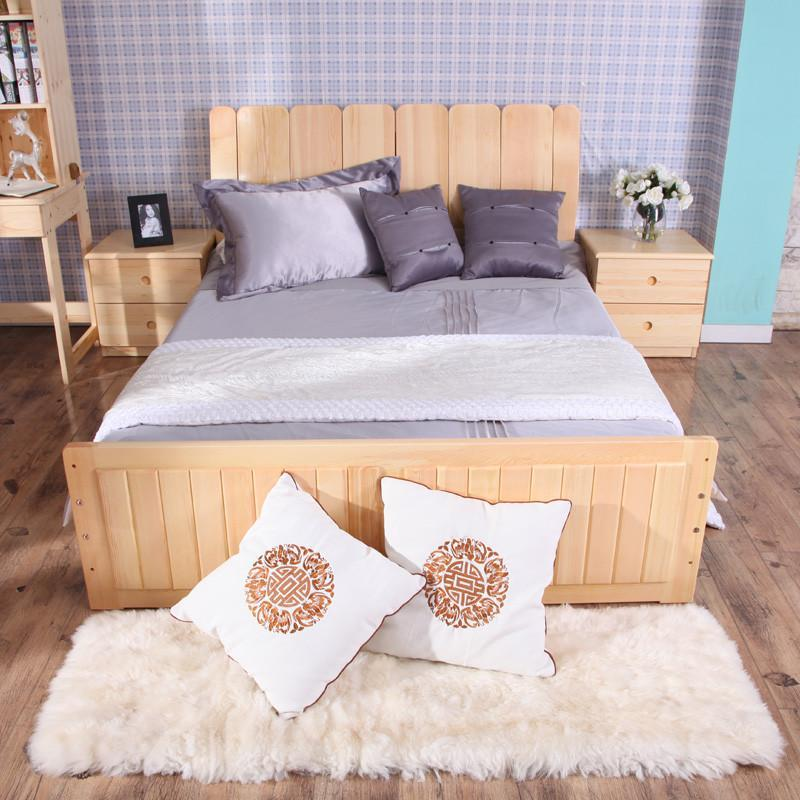 青岛一木现代简约实木床松木床1.5双人床架单人床1
