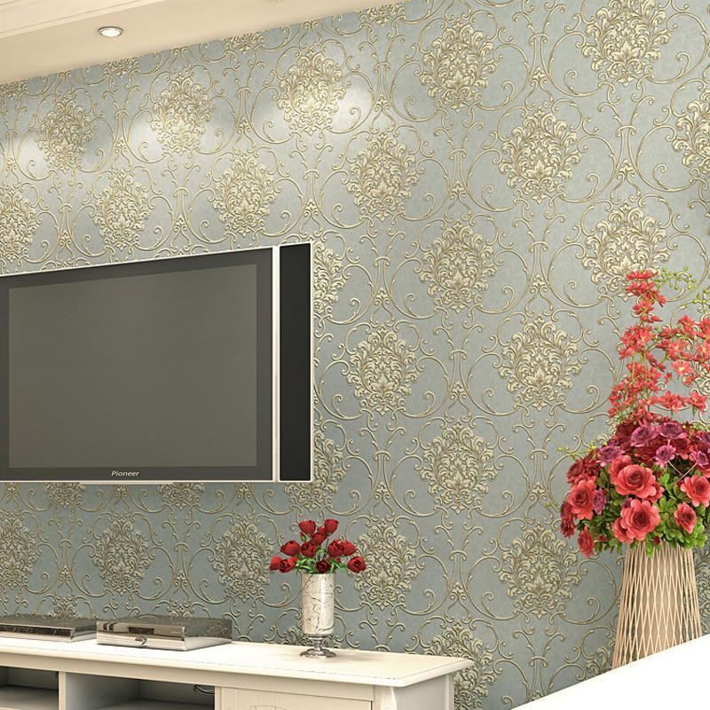 欧式浅灰色电视背景墙