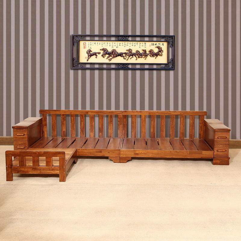 【初林家具】初林榆木实木沙发现代中式时尚客厅布艺