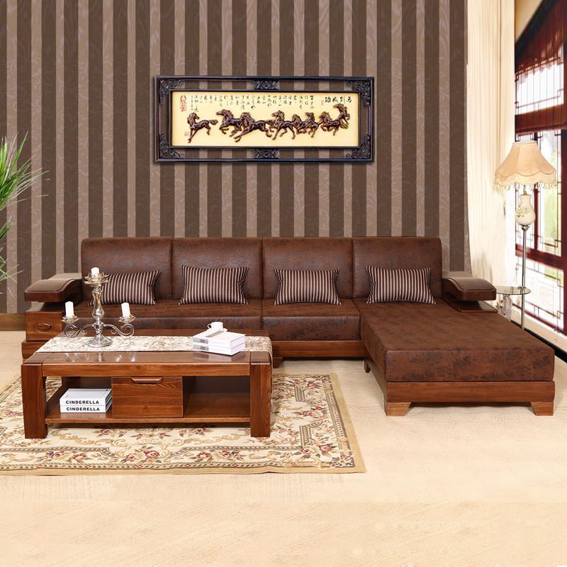 初林实木沙发现代中式时尚客厅布艺实木沙发sf-6皮储