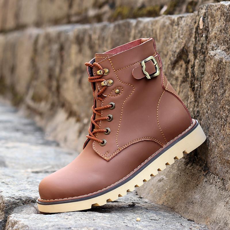 洛克华菲冬季新款中筒高帮马丁靴男皮靴英伦军靴机