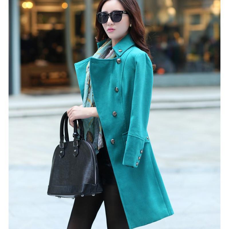 清伊格调 2014冬季新款韩版女士时尚中长款羊毛呢子外套羊绒大衣 qy