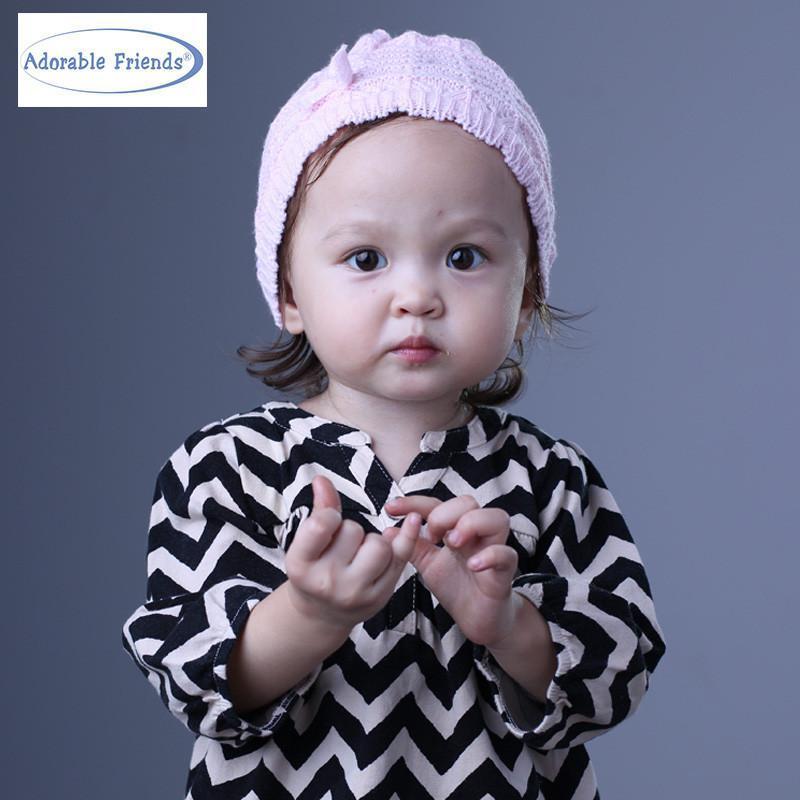 美国熊宝宝 春 秋冬新款毛线编织帽秋冬季婴儿毛线帽