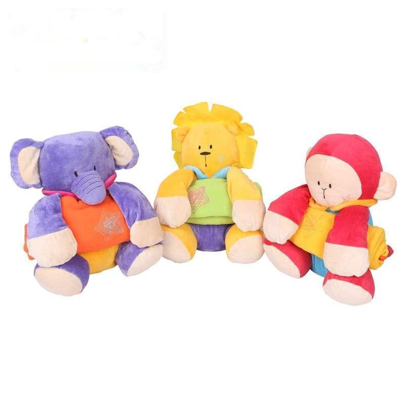 哈喜屋早教玩具三动物坐姿抱毯玩偶婴儿毯空调毯 宝宝