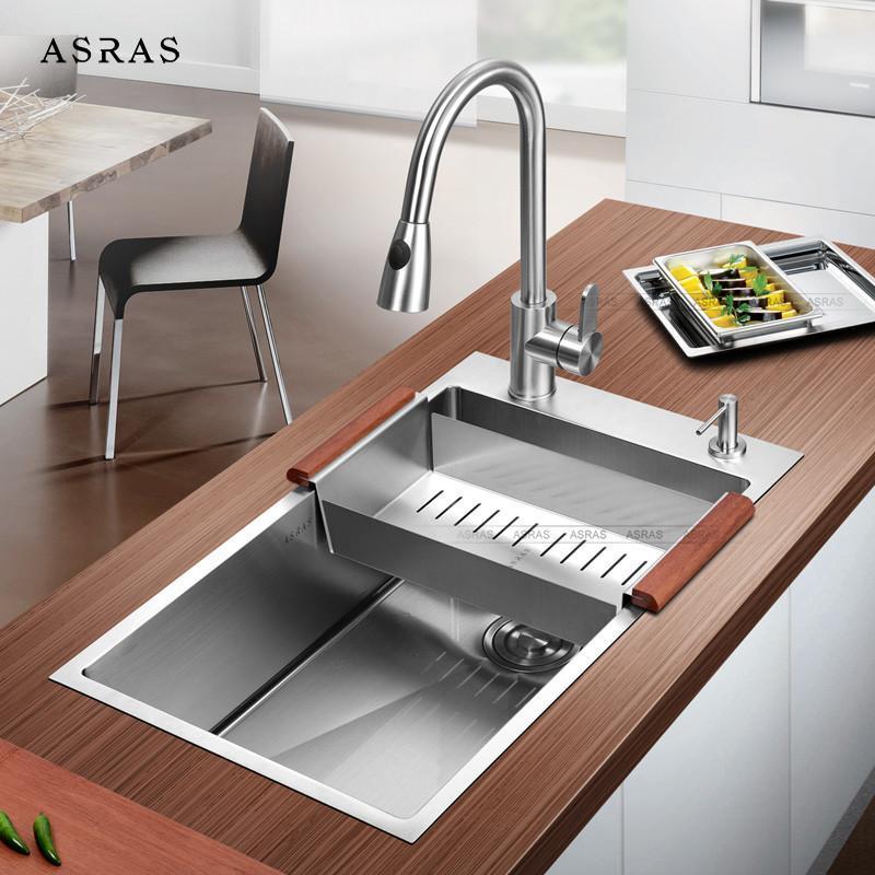 加厚欧式304不锈钢手工水槽单槽