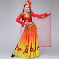 新疆维吾尔族演出服民族舞表演服女少数民族舞蹈服装大摆裙_1 xxl图片